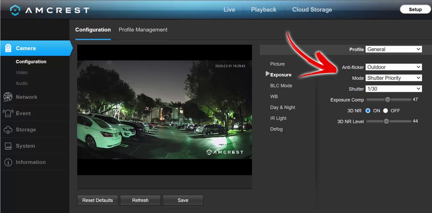 Amcrest Nigh-Color Camera exposure menu