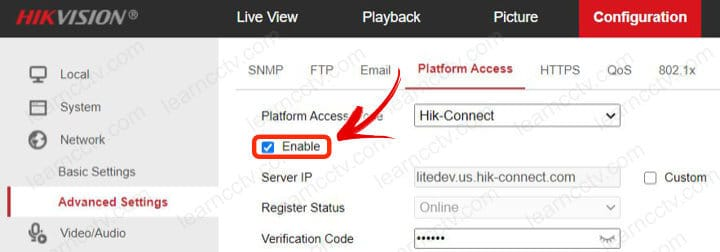 Hik-connect enabled on a Hikvision Camera